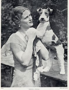 WIRE FOX TERRIER ACTRESS JEAN MELVILLE AND DOG LOVELY OLD PRINT FROM 1934
