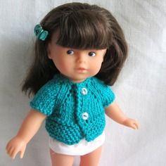 Habit de poupée : gilet vert pour poupée corolline 20 cm