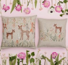 "Mama and baby deer meet in the meadow they call home on embroidered Spring Blossoms 20"" x 20"" pillow, paired here with complimenting 16"" Meadow Friends! Recommended for Mom this Mother's Day, find it in Pillows, coralandtusk.com   #springdecor #embroideredpillow #mothersday #deer #love #springblooms"