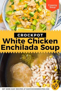 crockpot white chicken enchilada soup pinterest collage