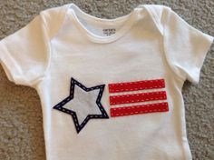 American Flag Appliqued Onesie Bodysuit