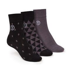 ThokkThokk 3er Pack Mid-Top Socken Triangle/Arrow/Grey
