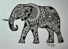 My mandala and zendrawing elephant. 😊