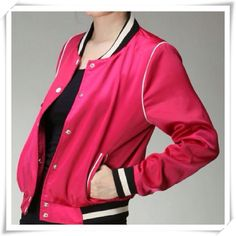 Pink Retro Athletic Jacket - Love this one! Brand new, fun and stylish, hot pink, retro, athletic style jacket made by Alice Moon for Moon Collection -just arrived and they are great! -fully lined with snaps. -true to size. -100% polyester -hand wash in cold water -lay flat to dry. -sizes small and large available as separate listings in my closet Feel Free to use Offer Button *photos used with permission and will be replaced with mine soon -unlike most items in my closet, price is firm…