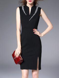 Shop Mini Dresses - Black Sleeveless Plain V Neck Beaded Mini Dress online. Discover unique designers fashion at StyleWe.com.
