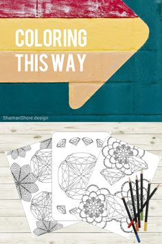 #ShShPrintables Printable gemstone coloring pages for grown ups, diamond coloring tutorial, printable adult coloring book on Etsy,