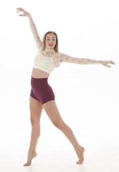 Lace crop top with highwaisted shorts- ivory lace- burgundy short- The perfect dance costume! Gleason (top and short)