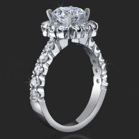 Very Large Diamonds Fully Bloomed Flower Halo Tension Bezel Band – Consider a Blue Diamond with This – Wedding Rings Vintage, Vintage Engagement Rings, Vintage Rings, Vintage Style, Radiant Engagement Rings, Designer Engagement Rings, Halo Engagement, Unique Rings, Beautiful Rings