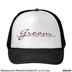 Bohemian Love Watercolor Feather Wedding Yellow Trucker Hat