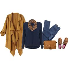 """""""Camel and blue"""" by lenaick on Polyvore"""