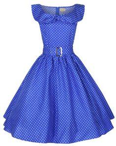 Amazon.com: Lindy Bop Hetty Polka Dot Bow Shawl Collar Vintage 1950s Rockabilly Swing Party Dress: Clothing $46.99