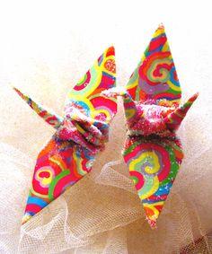 Rainbow Clouds Peace Crane Wedding Cake Topper Party Favor by localcolorist, $8.00 #peacecrane #wedding #origami
