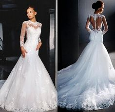 2017 Sheer Long Sleeves Mermaid Wedding Dresses Beaded Lace Applique High Neck Court Train Tulle Retro Bridal Gowns With Cover Buttons Wedding Gowns Wedding Dresses White Mermaid Wedding Dresses From Blingbrides, $140.51| Dhgate.Com