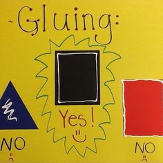 "This poster for gluing helps some. Made with white puffy paint. Remind them to leave a ""sidewalk"" space. Middle School Art, Art School, Art Class Posters, Art Room Rules, Art Bulletin Boards, Art Classroom Management, Visual Arts Center, Elementary Art Rooms, Montessori Art"
