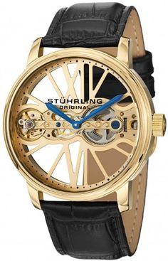 Stuhrling Original 527.333531 Winchester Bridge 23K Gold Layered Mechanical Skeleton Watch For Men