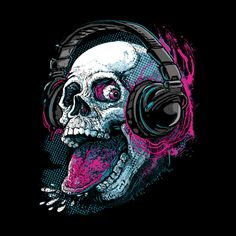 Buy this Mudge Studios Skull Tee, Put it On and Stick Out Your Tongue and Chill Along with this really Cool Skull. Check Out Those Rad Headphones. Skull Artwork, Skull Painting, Belly Painting, Skull Tattoo Design, Skull Tattoos, Skull Design, Art Tattoos, Chica Gato Neko Anime, Badass Skulls