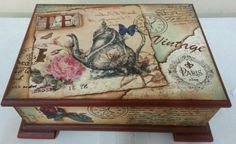 decoupage en cajas - Buscar con Google Decoupage Glass, Decoupage Vintage, Decoupage Art, Vintage Box, Vintage Shabby Chic, Painted Boxes, Hand Painted, Altered Boxes, Altered Art