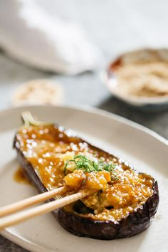 This Japanese eggplant recipe is all about that umami-rich miso glaze, which you can use on all kinds of root vegetables. Fodmap Recipes, Gf Recipes, Asian Recipes, Vegetarian Recipes, Dinner Recipes, Cooking Recipes, Healthy Recipes, Vegan Meals, Recipies