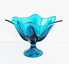 """Viking Aqua Teal Blue Glass Pedestal Compote Dish / Epic Six-Petal """"Blunique"""""""