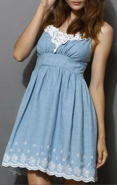 Crochet Floral Scrolled Denim Dress
