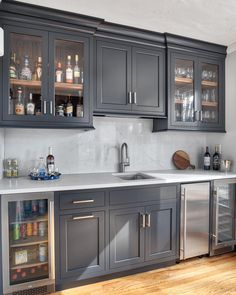 Basement bar - Is your beau generating a macho retreat for themself as well as the buddies down listed below? These 46 basement bar concept Basement Bar Designs, Home Bar Designs, Basement Ideas, Wet Bar Designs, Grey Kitchen Cabinets, Built In Cabinets, Soapstone Kitchen, Kitchen Countertops, Diy Painting Kitchen Cabinets