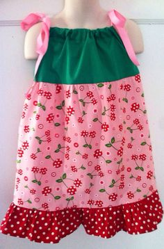 Pink Red and Green Girls Cherry Pillowcase by BowstoToesClothes