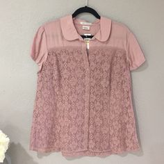 Van Heusen Studio blouse. Perfect for spring! Pale pink lace shirt with some solid fabric on the top. Top of shirt is rayon, bottom of shirt is cotton. Van Heusen Tops Button Down Shirts