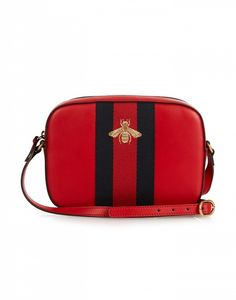 Gucci Linen Bee-Embroidered Leather Cross Body Bag
