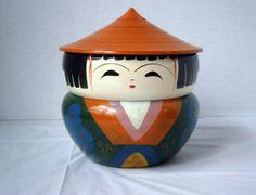 Vintage Japanese Lacquer Stacking Kokeshi Bento Trinket Box 1960's