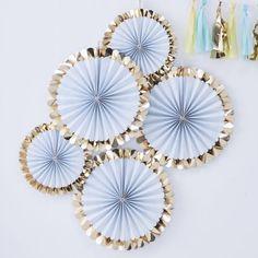 Gold Foil Blue Paper Fan Decorations (Pk5)