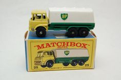 No.25 BP Petrol Tanker w/Original Box by Matchbox Lesney England 60's toy Car Great Gift Idea Stocking Stuffer  for Dad