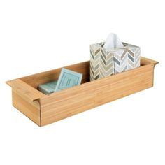 """Amazon.com: InterDesign Formbu Toilet Tank Storage Tray for Tissues, Candles, Soap - 3"""", Natural Bamboo: Home & Kitchen"""
