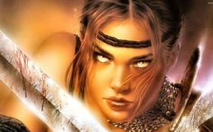 LUIS ROYO fantasy warrior painting art sexy babe wallpaper background