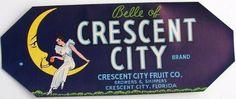 3.5X8.5 BELLE OF CRESCENT CITY Vintage Florida Crate Label, s
