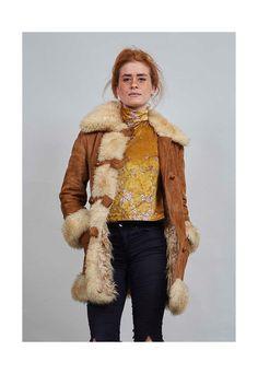 Classic tan 70's vintage sheepskin coat