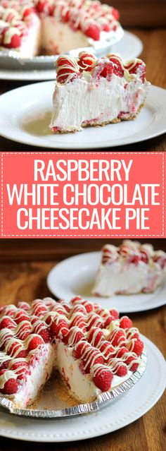 This no-bake Raspberry White Chocolate Cheesecake Pie comes together in 15 minutes and only has six ingredients but is impressive enough to serve to company! This no-bake Raspberry White Chocolate Che White Chocolate Cheesecake, Chocolate Pies, Homemade Chocolate, Raspberry Chocolate, Vanilla Brownies, White Raspberry, Chocolate Meringue, Chocolate Cream, Cheesecake Pie