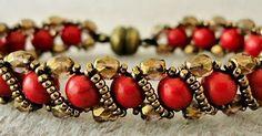 "Linda's Crafty Inspirations: RENAISSANCE BRACELET seed beads Miyuki ""Dark Bronze"" round red howlite stone beads (Beads One - not available online) fire polished beads ""Lumi Coated Taupe"" Beaded Braclets, Beaded Bracelet Patterns, Seed Bead Bracelets, Seed Bead Jewelry, Beading Patterns, Jewelry Bracelets, Seed Beads, Beading Jewelry, Jewellery"