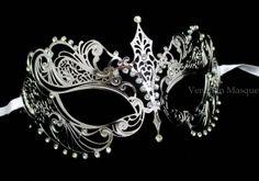 Silver Extravagant Laser Cut Metal Venetian Masquerade Mask - Swarovski Crystal Inspired Gems
