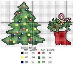 patrones de punto de cruz de navidad arbol