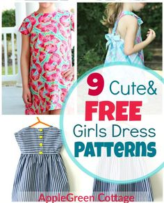 Dress Patterns For Girls - 9 Adorable Free Patterns! - AppleGreen Cottage - - Use one of the 9 free little girl dress patterns and make an adorable summer dress for your girl! little girl dress patterns. Little Girl Dress Patterns, Toddler Dress Patterns, Cute Little Girl Dresses, Vintage Girls Dresses, Summer Dress Patterns, Dress Sewing Patterns, Coat Patterns, Blouse Patterns, Child Dress Pattern Free