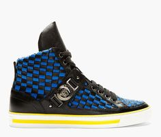 High-top textile and leather sneakers in black and blue. Leather trim throughout in black with cross-hatch effect.  http://zocko.it/LEWp5