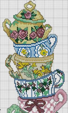 Stacked Tea Cups Cross-Stitch Chart