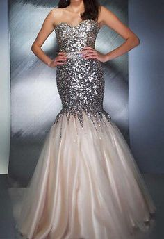 2014 New Sequins Lace Mermaid Prom Dresses Long Party Evening Formal Gowns 6-16