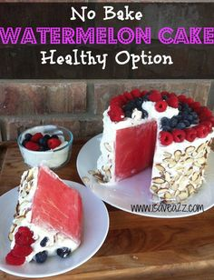 Watermelon Cake. What a cool idea. I saw another one that had been pre cut into wedges and then frosted. That might be easier?  Looks so good :D