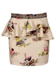Sukně Pepa Loves Teresa s potiskem ptáčků 1 Off Shoulder Blouse, Trunks, Swimwear, Tops, Women, Fashion, Skirts, Drift Wood, Bathing Suits