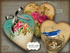 HEART GIFT TAGS No3 Digital Collage Sheet Printable by ArtCult