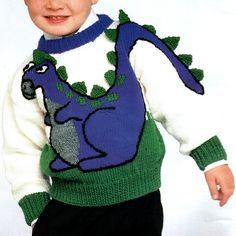 Vintage Dinosaur Knitting Pattern Horse Cat Bunnies by VogueVixens Kids Knitting Patterns, Baby Sweater Knitting Pattern, Knitting For Kids, Knitting Projects, Baby Knitting, Dinosaur Sweater, Pull Bebe, Dinosaur Pattern, Knitting Books