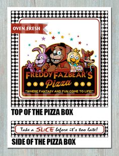 Five Night's At Freddy's PIZZA BOX Printable - Birthday - Bridal Shower - Event - Party Favor - Decoration