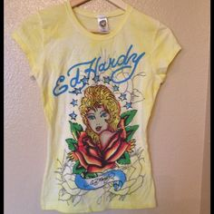 Ed Hardy Tee Ed Hardy T-Shirt with Rhinestone design on the front of tee.  Ed Hardy Tops