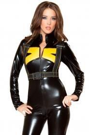 Сексуальный облегающий черный костюм комбинезон